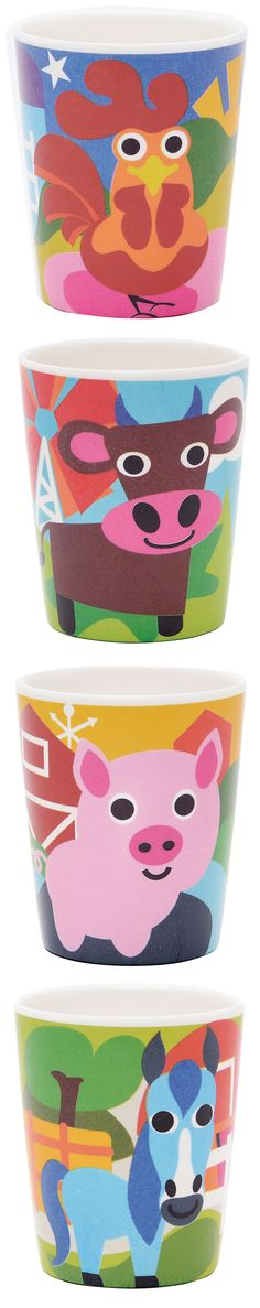 French Bull FARM COLLECTION: melamine, kids cups, juice cups, BPA-free, kid friendly tableware, safe indoors and outdoors, scratch and shatter resistance, dishwasher safe, Pig, Rooster, Horse, Cow