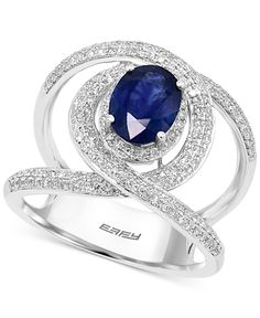 Sapphire (1-3/8 ct. t.w.) and Diamond (5/8 ct. t.w.) Ring in 14k White Gold