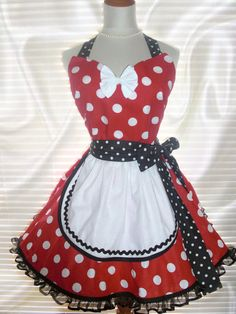 French Maid Apron Minnie Mouse Inspired Pin-up Retro Style Flirty Skirt Sweetheart Neckline by ArtsyCraftsyBoutique on Etsy
