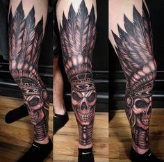 Full Leg Tattoos, Leg Tattoo Men, Best Sleeve Tattoos, Arm Tattoos For Guys, Future Tattoos, Indian Skull Tattoos, Skeleton Tattoos, Native American Tattoos, Native Tattoos