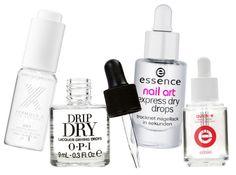 Nail polish drying drops: Formula X, OPI, Essence, Essie
