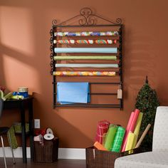 Leal Black Wrapping Paper & Craft Storage Rack | Overstock.com