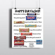 Birthday Candy Posters, Candy Birthday Cards, Cute Birthday Gift, Diy Birthday, Birthday Board, Funny Birthday, Candy Bar Cards, 50th Birthday Gag Gifts, Teenage Boy Birthday
