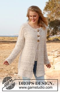 """Knitted DROPS jacket with dropped sts in """"Alpaca Bouclé"""", """"Symphony"""" and """"Cotton Viscose"""". Size: S - XXXL. ~ DROPS Design"""