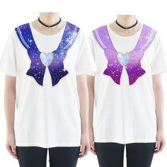 S-3XL Blue/Purple Galaxy Gem Sailor Seifuku Printed Tshirt SP166411