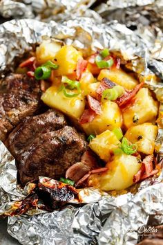 Steak & Cheesy Bacon Potato Hash Foil Packs can be cooked on the grill, stove top OR oven! Two favourites cooked in ONE PACK means NO pans to wash up!