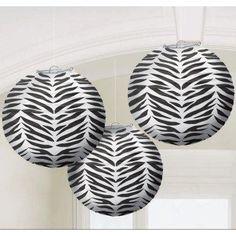 Zebra print paper lanterns! #Party #Zou #Birthday #Zebra #Paper #Lanterns