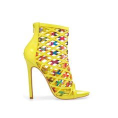 """Privileged """"Cassidy"""" yellow-multi-faux-leather peep-toe woven back-zipper very-high-heeled ankle bootie Multi Coloured High Heels, Yellow High Heels, Yellow Shoes, Neon Yellow, Caged Shoes, Peep Toe Shoes, Shoes Heels, Socks And Heels, High Heel Boots"""