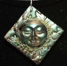 Polymer Clay Moon Face Goddess Pendant by MoldedMoonbeams on Etsy