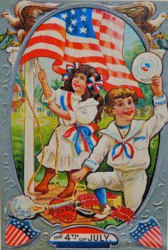 A vintage Fourth of July postcard #redwhiteandblue #oldschool #america