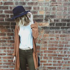 Style inspiration. Ootd, fall fashion, how to style hats, cardigans, layers.