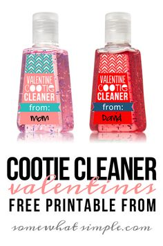 This Valentine Cootie Cleaner idea is the perfect non-candy Valentine for you to give your kids, or for them to give to their friends! And these labels are FREE!( Maybe even tape candy to it! Kinder Valentines, Valentines Day Treats, Valentine Day Love, Valentine Day Crafts, Funny Valentine, Printable Valentine, Valentine Ideas, Valentines Presents, Valentine Party