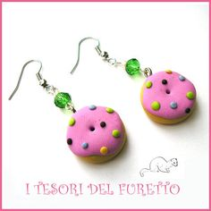 """Orecchini """"Donut Con glassa rosa e zuccherini"""" fimo cernit kawaii ciambellina…"""