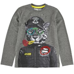 Desigual Mottled grey jersey T-shirt Grey - 95395   Melijoe.com