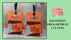 Halloween Trick or Treat Cat Tote. Treat Holders, Bags and Boxes, Stampin'Up, Paper Crafts