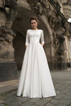 24 Modest Wedding Dresses Of Your Dream ❤ modest wedding dresses a line with long sleeves simple noranaviano ❤ Boho Wedding Dress With Sleeves, Making A Wedding Dress, Luxury Wedding Dress, Long Sleeve Wedding, Modest Wedding Dresses, Dress Making, Bridesmaid Gowns, Dress Lace, Wedding Styles