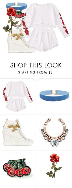 """""""white sneaker"""" by angels-and-ametrines ❤ liked on Polyvore featuring Giuseppe Zanotti and OBEY Clothing"""