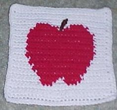 Apple Afghan Square | An apple a day... works up the perfect back-to-school granny square afghan!