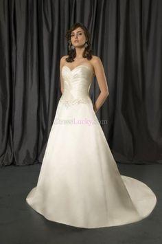 Simple A-Line/Princess Sweetheart Sleeveless Long/Floor-length Hall Wedding Dresses WD1B6