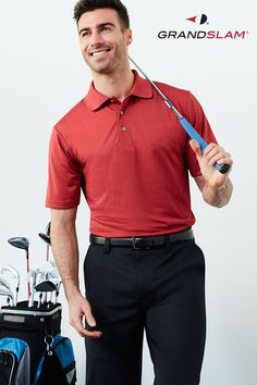 For the guy that goes from nailing the big presentation to shooting par, get the look that does it all, too. A classic red polo and black pants are as suitable for work as for play. Get new spring style from Grand Slam for men and big and tall at Kohl's. Mens Golf Outfit, Golf Attire, Golf Fashion, Mens Fashion, Ladies Golf, Golf Shirts, Shirt Jacket, Black Pants, Spring Style