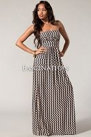 Taupe Zigzag Strapless Maxi