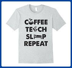 Mens EXCLUSIVE : Teach Coffee Sleep Repeat  FUNNY COOL TEACHER T Medium Heather Grey - Careers professions shirts (*Amazon Partner-Link)
