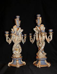 Pair Dresden Porcelain Serpent Candelabras www.canonburyantiques.com (4) Dresden Porcelain, Fine Porcelain, Antique Chandelier, Antique Lighting, Candlestick Holders, Candlesticks, Vases Decor, Ceramic Art, Vintage Antiques