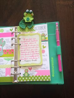 Lotus and Frog inspired upcoming week in my Filofax Apex Personal Green and Filofax A5 Chameleon Black