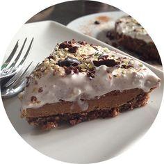 Raw caramel and chocolate ganache tart with coconut cream, raw chocolate, vegan, gluten-free, sugar-free, paleo YUM!!!!
