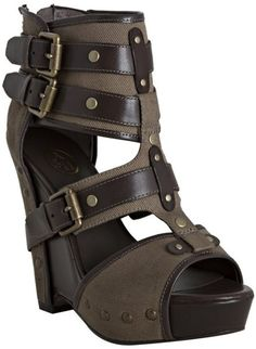 Military Canvas and Leather Lyn Buckle Wedge Sandals - Lyst