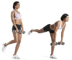 Single-Leg Dumbbell Straight-Leg Deadlift: Grab dumbbells with an overhand grip and hold them at arm's length in front your thighs. Stand with your feet shoulder-width apart and knees slightly bent. Now raise one leg off the floor. Without changing the bend in your knee, bend at your hips, and lower your torso until it's almost parallel to the floor. Pause, then squeeze your glutes, thrust your hips forward, and raise your torso back to the start. Do all your reps, then repeat w/ your other…