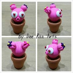 Sculpey fimo polymer clay cactus pink valentines day plant pot