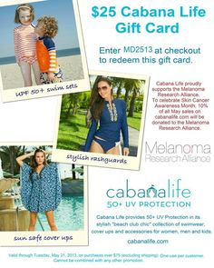 Cabana Life gift card... Use before Wednesday... $25 to spend on cabanalife.com to stock up for Memorial Day!