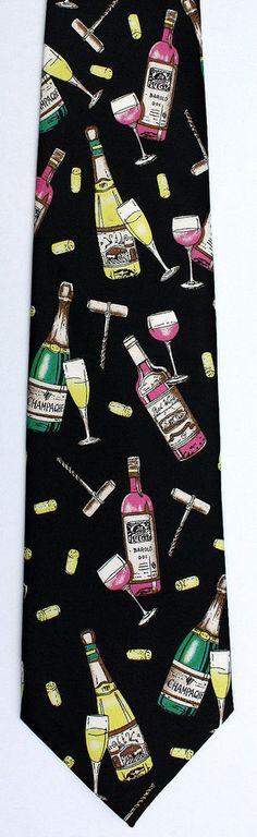 New Wine & Champagne Mens Necktie Red White Wines Corks Glasses Black Neck Tie #CJAndrews #NeckTie