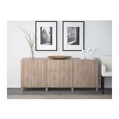 "BESTÅ Storage combination with drawers, Lappviken walnut effect light gray - 70 7/8x15 3/4x29 1/8 "" - drawer runner, push-open - IKEA"