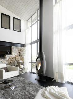 Stufa a Legna Ove :: Stove-Design Home Fireplace, Modern Fireplace, Fireplace Design, Fireplace Stone, Bedroom Fireplace, Fireplaces, Modern Interior Design, Interior Architecture, Foyers
