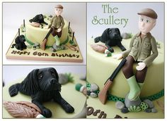 Cake For a Gamekeeper Country Birthday Cakes, 40th Birthday Cakes For Men, Retirement Party Cakes, Hunting Birthday Cakes, Fondant Dog, Pool Cake, Bithday Cake, Cake Models, Dad Cake