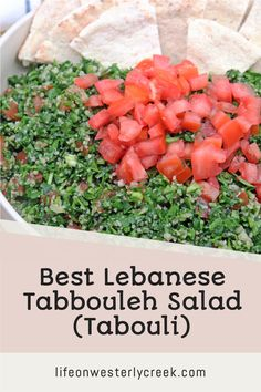 Tabbouleh or tabouli is a traditional Lebanese salad full of flavor from parsley, tomatoes, green onions, bulger wheat, lemon, olive oil and mint.  This salad is known for it's fresh taste and health benefits popular with the Mediterranean Diet. #Salad