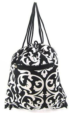 Damask Print Cinch Drawstring Backpack Purse Cheer Dance School Sports Gym Bag You Choose Pink or Black
