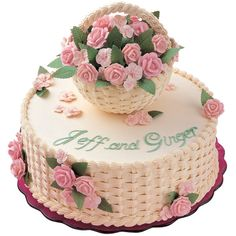 A Budding Romance Cake - Here's to the happy couple! This pretty cake is topped with a basket of sweet blooms enhanced with a lovely basket weave design. Cake Decorating Designs, Creative Cake Decorating, Wilton Cake Decorating, Creative Cakes, Cake Designs, Basket Weave Cake, Flower Basket Cake, Cake Basket, Wilton Cakes
