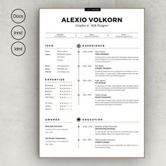 Best Creative Resumes Cool Clean Cvresume Ii  Template Resume Cover Letters And Resume Cv