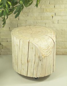 Set Of White Tree Stump Table Wood Trunk Set Weiß Baumstumpf - White tree stump side table