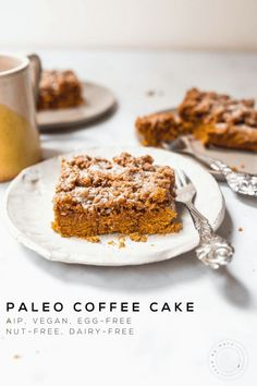 *Paleo, AIP, Vegan, Gluten-free, Grain-free* This delicious allergen-friendly coffee cake will fit the bill for a moist and crumbly coffee cake that is a perfect mix of spicy and sweet! Serve with your favorite hot drink. Paleo Dessert, Healthy Desserts, Banana Recipes, Cake Recipes, Paleo Coffee Cake, Paleo Treats, Moist Cakes, Cake Servings, Savoury Cake