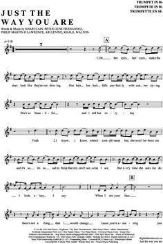 Just the way you are (Trompete in B) Bruno Mars [PDF Noten] >>> KLICK auf die Noten um Reinzuhören <<< Noten und Playback zum Download für verschiedene Instrumente bei notendownload Blockflöte, Querflöte, Gesang, Keyboard, Klavier, Klarinette, Saxophon, Trompete, Posaune, Violine, Violoncello, E-Bass, und andere ...