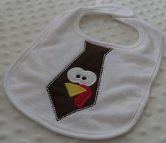 Turkey Tie NeCK Tie Appliqued Bib for baby boy by mylittlehedgehog, $13.00