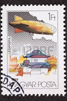 Graf Zeppelin in Japan, at Mount Fuji during its round the world trip in 1931.  Cancelled Hungarian Stamp photo