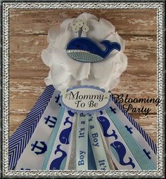 Whale Mommy To Be Corsage Nautical Baby Shower by BloomingParty