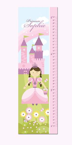 """Princess Growth Chart Personalized Canvas- Princess and Castle- 13"""" X42"""" Inches"""
