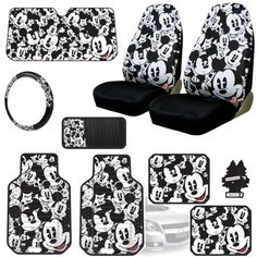 New Design Disney Mickey Mouse Car Seat Covers Floor Mats Steering Wheel Cover CD Visor Organizer Accessories Set with Travel Size Purple Slice Disney Mickey Mouse, Mickey Mouse Design, Disney Cars, Disney Stuff, Mickey Mouse House, Disney Car Accessories, Truck Accessories, Bucket Seat Covers, Car Covers