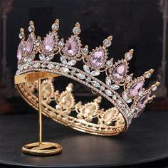 Crown Aesthetic, Gold Tiara, Black Tiara, Bride Headband, Pink Crown, Bride Hair Accessories, Tiaras And Crowns, Pageant Crowns, Royal Tiaras